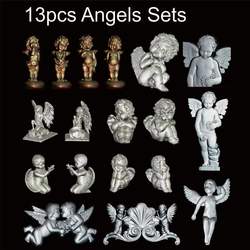 13pcs Angels Sets 3d model STL relief for cnc STL format Angel Relief Model STL Router  Engraver ArtCam theotokos mother of god 3d model for cnc stl format religion 3d relief model stl router 3 axis engraver artcam