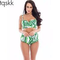 TQSKK 2017 Halter High Waist Bikinis Women Green Leaves Swimsuit Female Summer Beach Wear Bikini Set