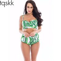 TQSKK 2017 Halter High Waist Bikinis Women Green Leaves Swimsuit Female Summer Beach Wear Bikini Set