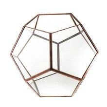 Hot Sale Glass Pentagon Geometric Terrarium Container Window Sill Decor Flower Pot Balcony Planter Diy Display Box (No Plant)