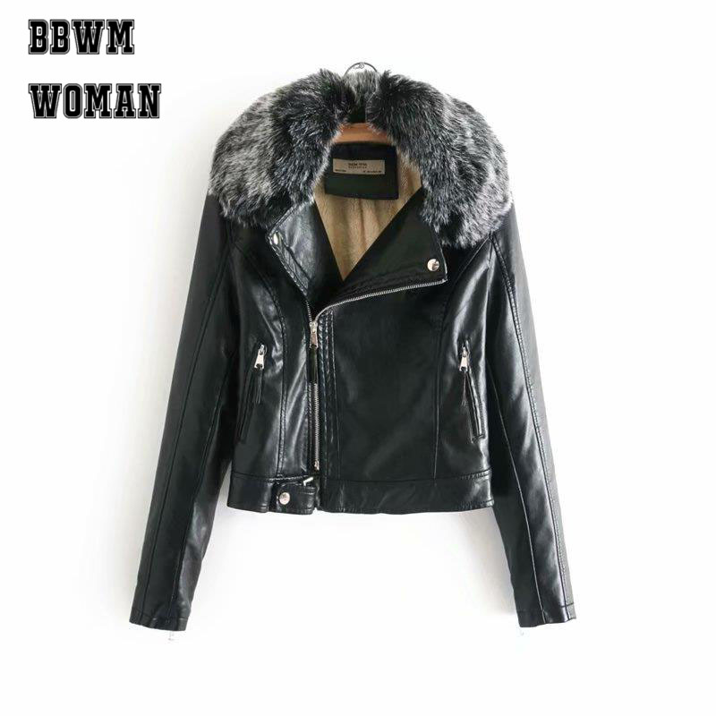 Furry Collar PU   Leather   Jackets Fashion Hot Sale Black and Red Vintage High Street Ladies Outerwear Coat