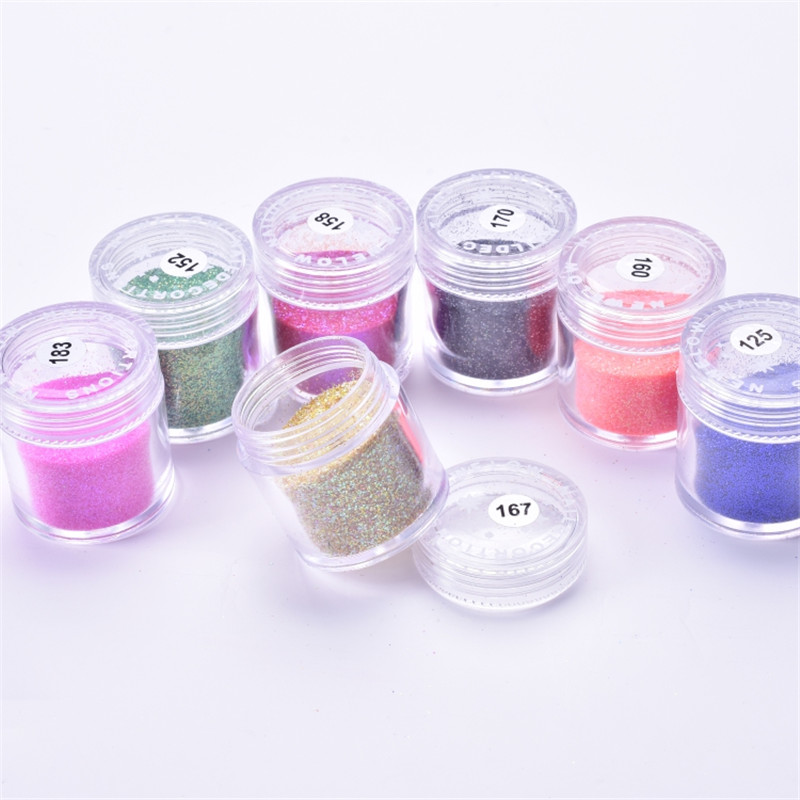 Holographic Effect Nail Mix Glitter Powder 0.2 1mm Size Nail Glitter Flakes Decor Dust Powder For Nail Glitter Powder 10ml/Jar