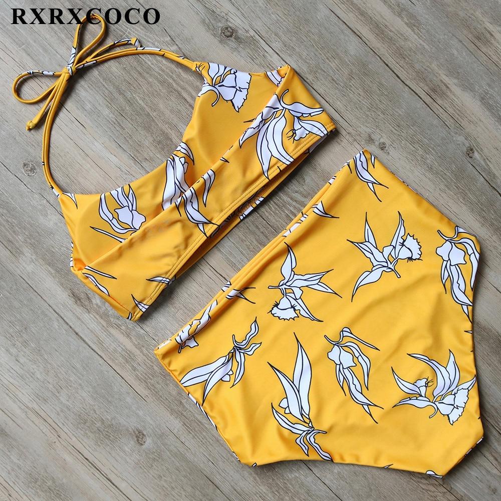 RXRXCOCO Hot Sexy High Waist Bikinis Women Swimwear Set Strappy Swimsuit Push Up Printing Bathing Suit Brazilian Swimming Suits