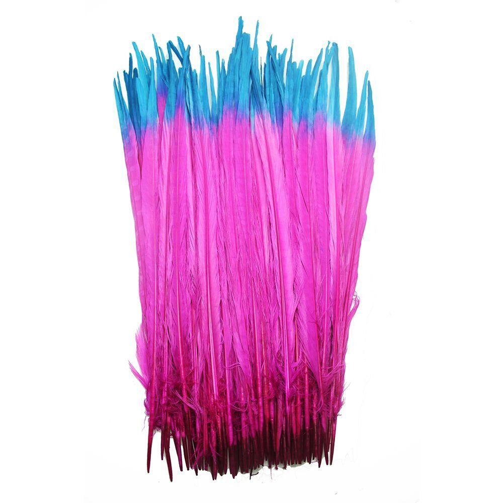 100 조각 40 45cm (16 18 inch) 혼합 색상 염색 ringneck 꿩 꼬리 깃털 공예 파티 축제 용품 diy 카니발-에서깃털부터 홈 & 가든 의  그룹 1