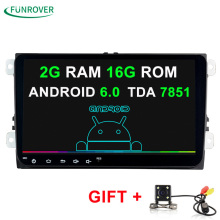 9 inch Android 6.0 Car DVD Player 2din Radio  Gps Stereo Multimedia PC 2G+16G in dash for vw Skoda tiguan passat cc golf touran