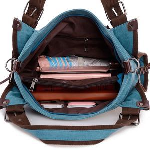 Image 5 - Bolso de hombro de lona para mujer, bandolera de mano con asa superior, grande, para compras/bandolera de viaje