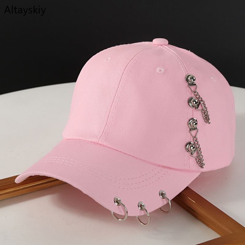 Baseball     Caps   Women New Rivets Rings Chains Adjustable Solid Outdoor Sun Shade Womens   Cap   Hip Hop Chic Trendy All-match Harajuku