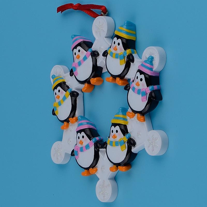 Familia de 6 pingüinos Snowflake de Polyresin, adornos de árbol de - Para fiestas y celebraciones - foto 6