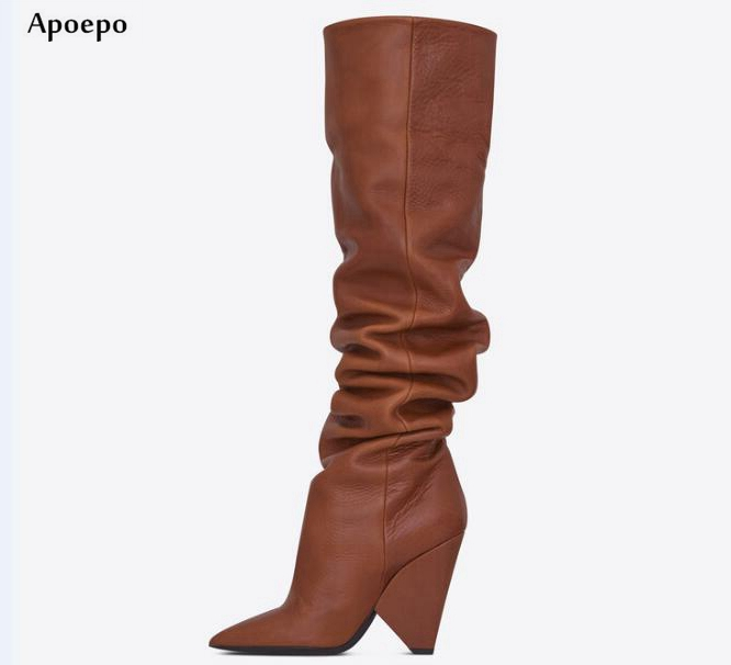 Apoepo Newest Pointed Toe Leather High Heel Boots 2018 Sexy Spike Heels Over the Knee Boots Riding Boots for Woman