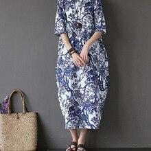 2018 Summer Plus Size Dresses For Women Loose Cotton Linen Dress Floral  Printed Boho Shirt Dresses 4bf7147e9f0d