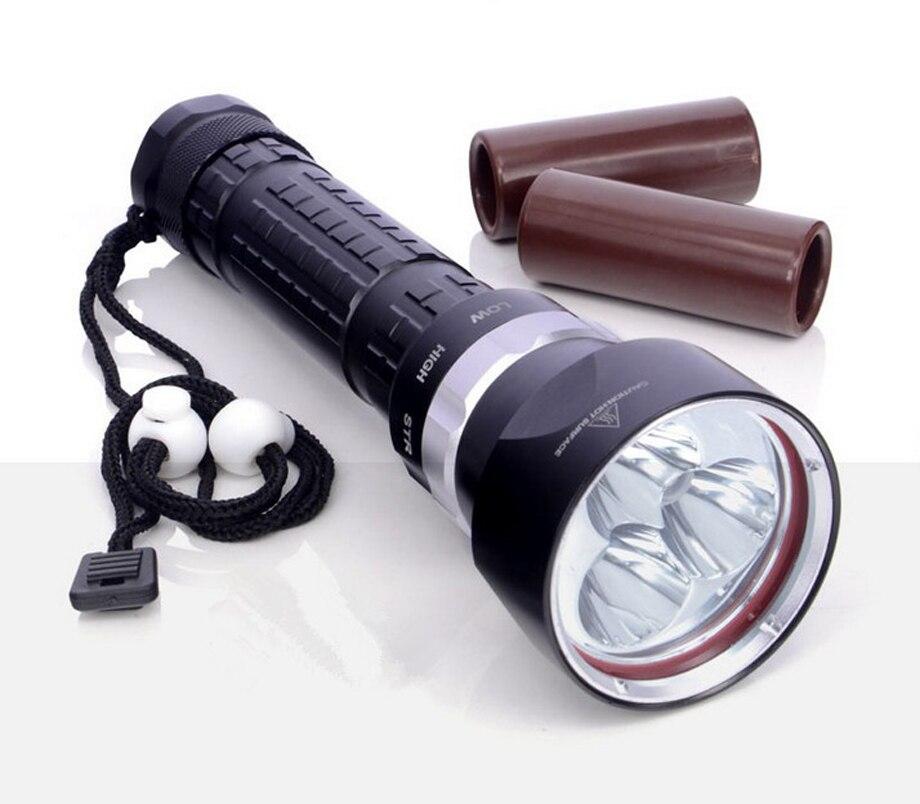 ФОТО 3800 Lumen DX3 Scuba Diving Flashlights 3*CREE L2 100M Underwater LED Dive Torch Light Aviation Aluminum Black