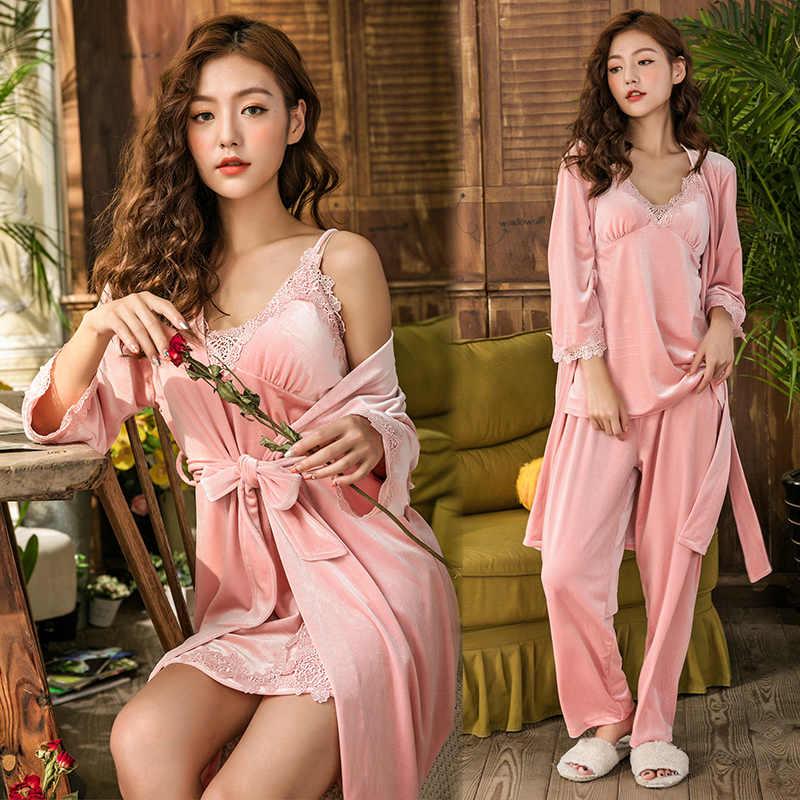 2019 золото бархат из 4 предметов зимние женские пижамы элегантный кружевной халат пижамы без рукавов ночной халат платье новый комплект