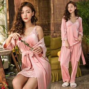 Image 5 - Gold Velvet 4 Pieces Winter Pajamas Sets Women Sexy Lace Robe Pajamas Sleepwear Sleeveless Nightwear Robe Gown Set
