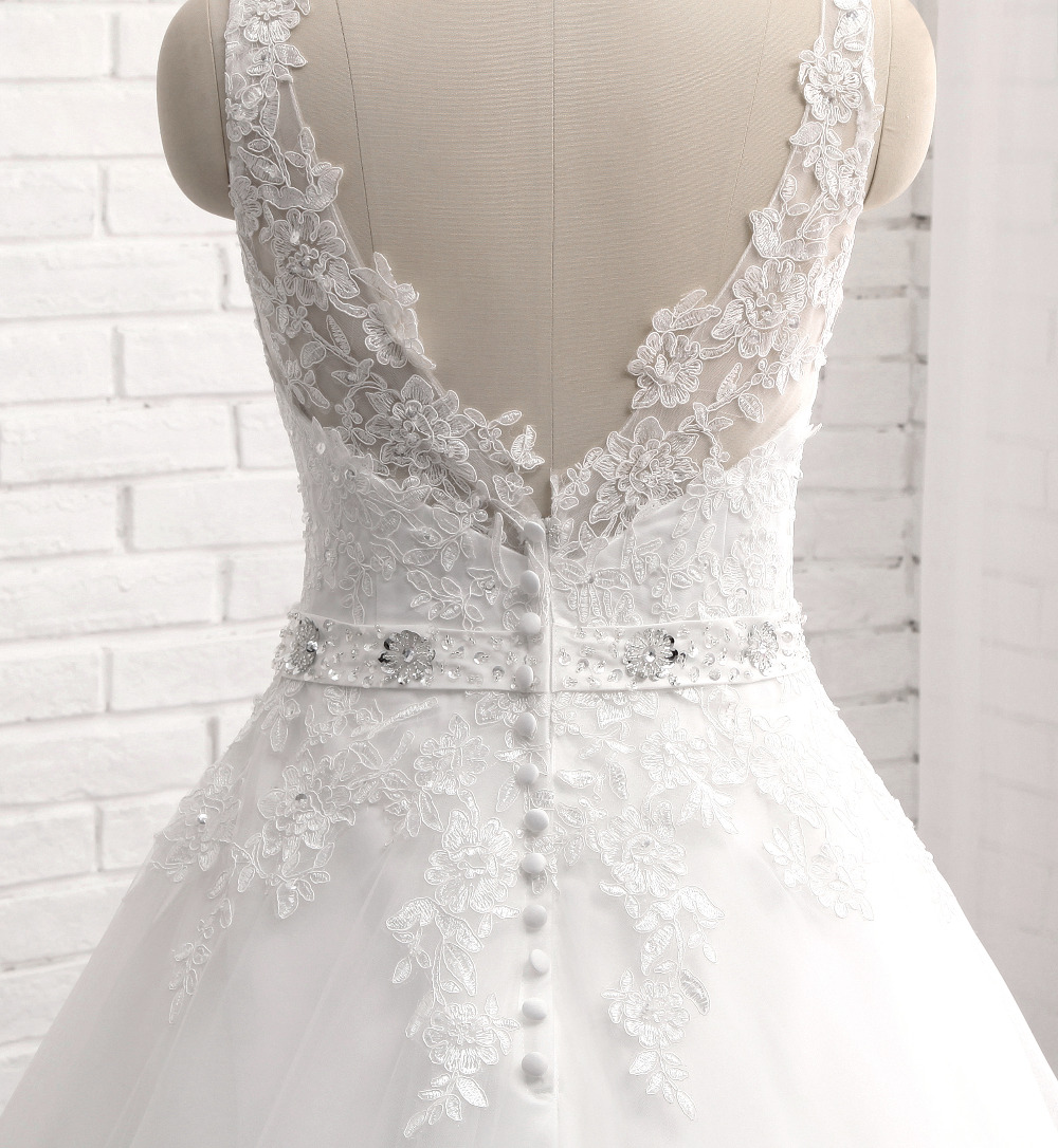 Lover Kiss Vestido De Noiva New Design A Line Lace Wedding Dress V Neck Beaded Sash Backless Sexy Vintage Gowns Wedding Dress 6