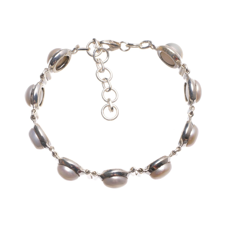 StarGems (tm) естественный речной жемчуг ручной Винтаж 925 серебро браслет 6-7 1/2 W0260