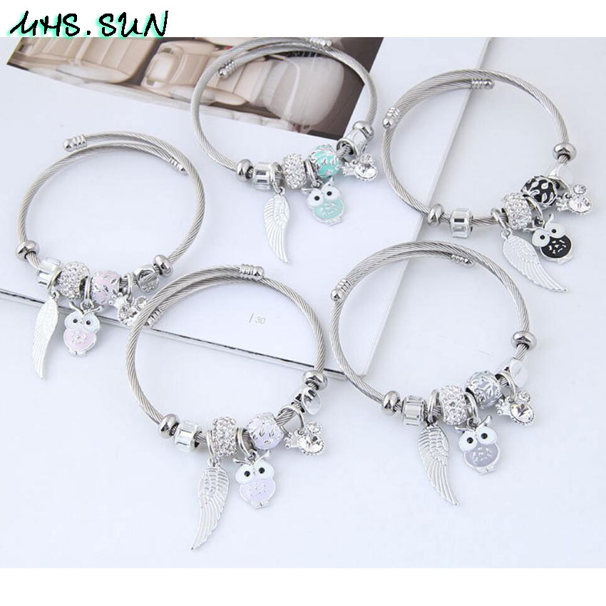 24-2Women Fashion Ocean Style Bangles Bracelets With Owl Bohemia Vintage Girls Bangles Jewelry For Party European Design