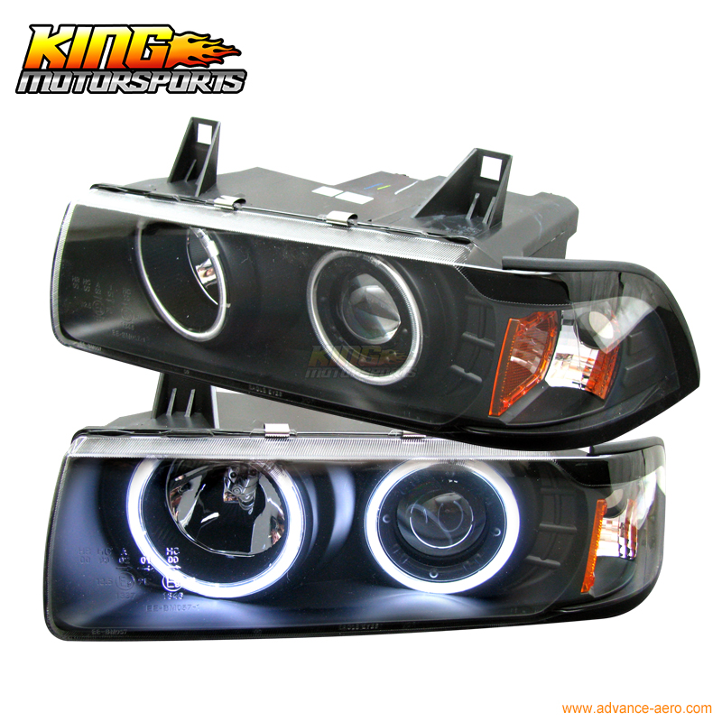 For 1992-1998 BMW E36 4Dr CCFL Halo Projector Headlights Black USA Domestic Free Shipping for 2005 2008 bmw e90 e91 4dr wgn projector headlights halo ccfl 06 07 us domestic free shipping