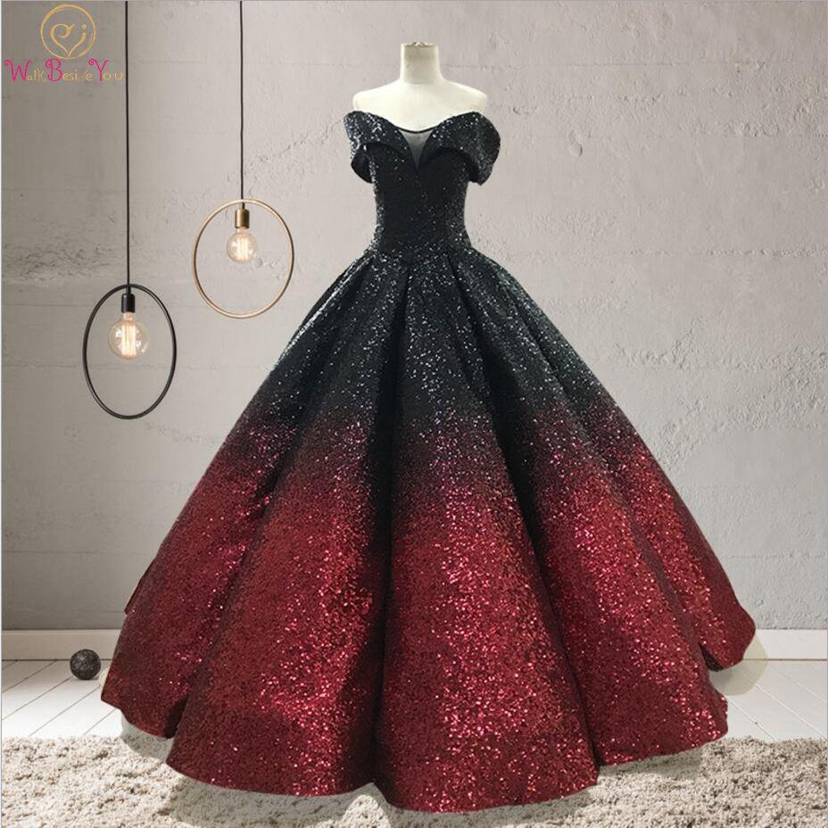 Gradient couleur robes de soirée Bling Noir-vin Hors Épaule Chérie robe de Bal longue robe de soirée longue 2019 robe de bal