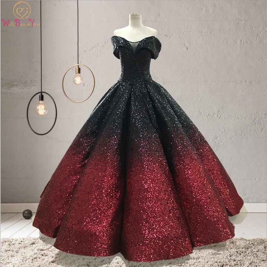 Gradient color Evening Dresses Bling Black-wine Off Shoulder Sweetheart Ball Gown Long robe de soiree longue 2019 Prom Gown