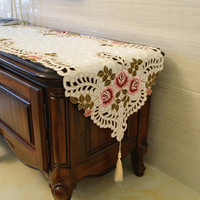 High grade Embroidered Long Table Runner Tablecloth Cabinet Dresser Shoebox Cover Cloth Table Flag Bedside Towel Bed Flag
