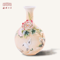 NATIONAL MUSEUM OF CHINA Cotton Roses And Two Herons Design Sculptured Ancient Porcelain Vase as Gifts