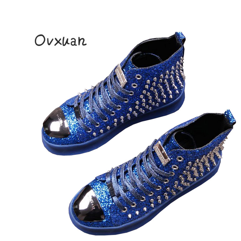 Ovxuan Fashion Silver Sheet and Metal Toe Men Dress shoes High Top Rivets Men Handmade Ankle Shoes Casual Loafers Men's Flats ovxuan metal skull buckle handmade men ankle shoes punk party dress loafers glitter bright sequins men flats casual rivets shoes