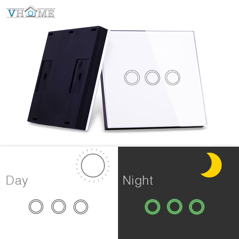 Vhome Wireless Touch Remote RF 433MHZ Glass Panel Remote, Touch Switch Light Control, Garage Door, Electric Curtains