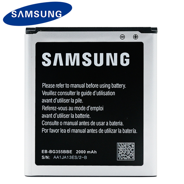 100% Original Samsung Bateria Do Telefone para Samsung Galaxy Núcleo 2 G355 G355H G355M EB-BG355BBE 2000 mAh Bateria de Substituição Com NFC