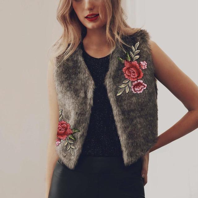 f683cf4ea243d7 Faux Fur Vest Coat Women 2017 Autumn Winter Coats Outerwear Floral  Embroidery Sleeveless Short Women s Coat Warm Vests Plus Size