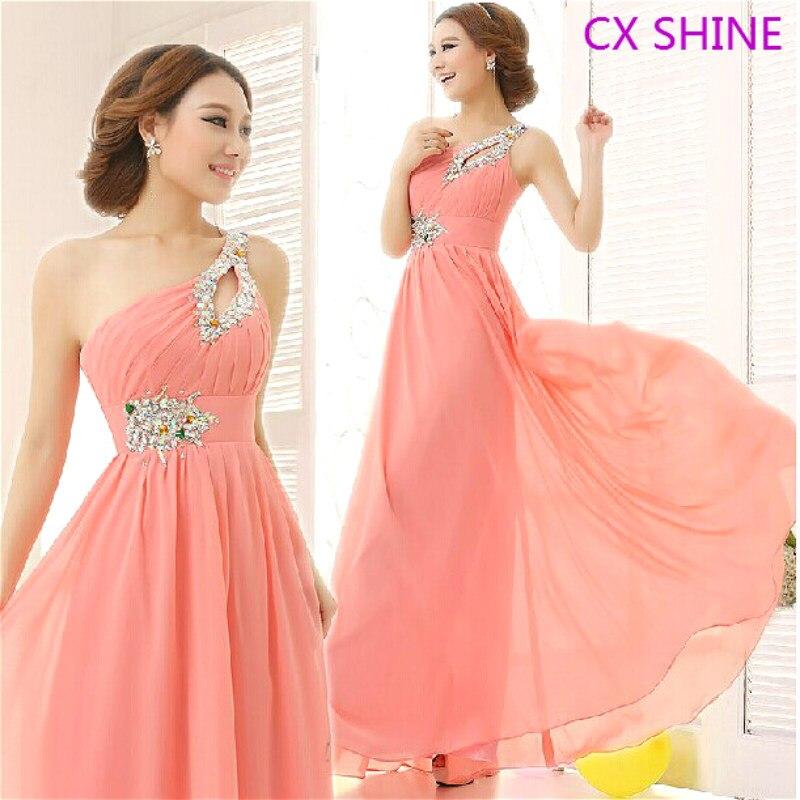 CX SHINE Προσαρμοσμένο μέγεθος χρώμα! Κομψό ένα ώμο Beaded κρύσταλλο μακρύ φόρεμα βραδινό φόρεμα φορέματα Prom φόρεμα φόρεμα φόρεμα φόρεμα