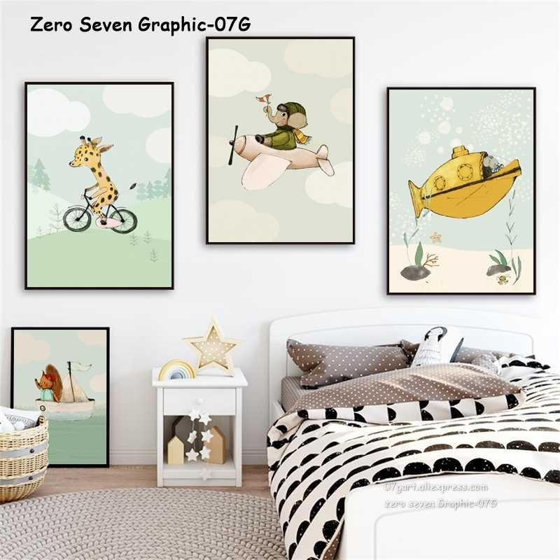 Transportation Cartoon Animal Canvas Painting Poster And Print Art Wall Picture Baby Room Nursery Home Decoration