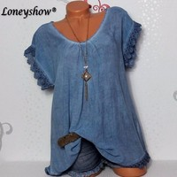 Hollow Out Women Casual Plus Size 5XL Blouse V Neck Tunic Mujer Shirts Short Sleeve Summer
