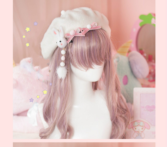 f87e34f93d062 Princess sweet lolita hat Wool felt beret Rabbit hair ball hairpin bow is  not including another