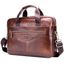 BULLCAPTAIN Genuine Leather MenS Briefcase Vintage Business Computer Bag Fashion Messenger Bags Man Shoulder Bag Postman