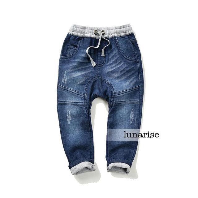 New Children's Boys Stitching imitated jeans autumn 100% cotton knitted Terry cowboy pants child big baby trousers wholesale