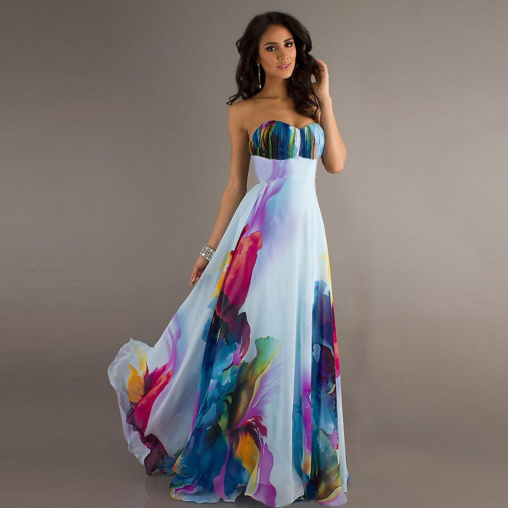 2016 trendy gorgeous wedding summer style a line print strapless ...
