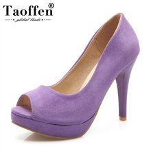 Taoffen Women Peep Toe Thin Heels Pumps Platform Wedding Party Sexy Super High Heel Shoes Women Simple Club Pumps Size 34-43 dorisfanny night club super sexy high heel pumps party shoes for women rainbow color changing women wedding shoes