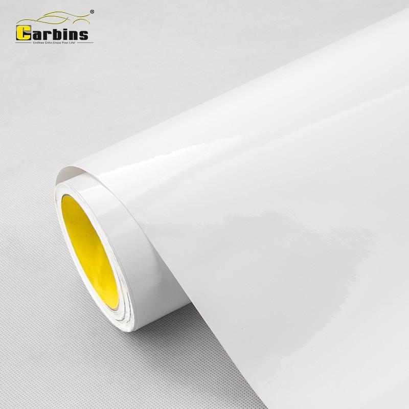 Carbins Glacier blanc Film vinyle Super brillant autocollant de voiture en gros