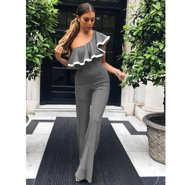 f3a8cfdb21c4f Women Jumpsuits Ruffles Overalls Casual One Shoulder Long Playsuits Rompers  Jumpsuit Long Pants Plus Size WS1430E
