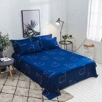 Cartoon cotton blue bed sheet king queen full twin size High quality flat sheets set bed linen bedding bedsheet pillowcase set