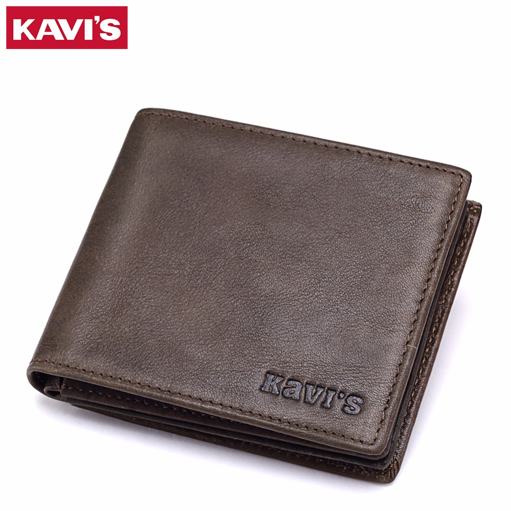 KAVIS Wallet Men Leather Vintage Bifold Brands With Money Bag Portomonee Coin Purse PORTFOLIO Rfid Walet Small and Mini Perse