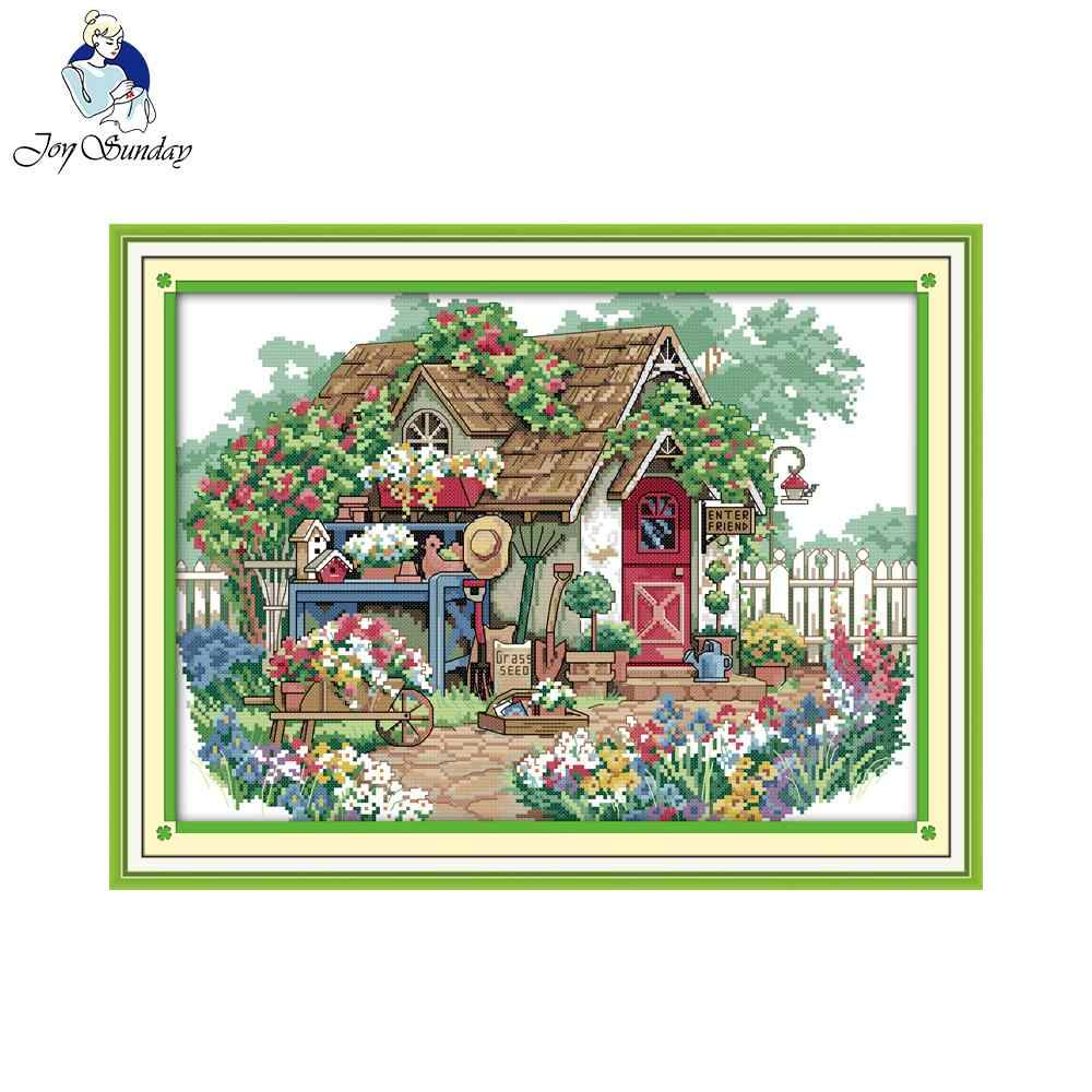 Joy sunday scenic style Summer beach counted cross stitch christmas stocking kits hand embroidery for home ornament