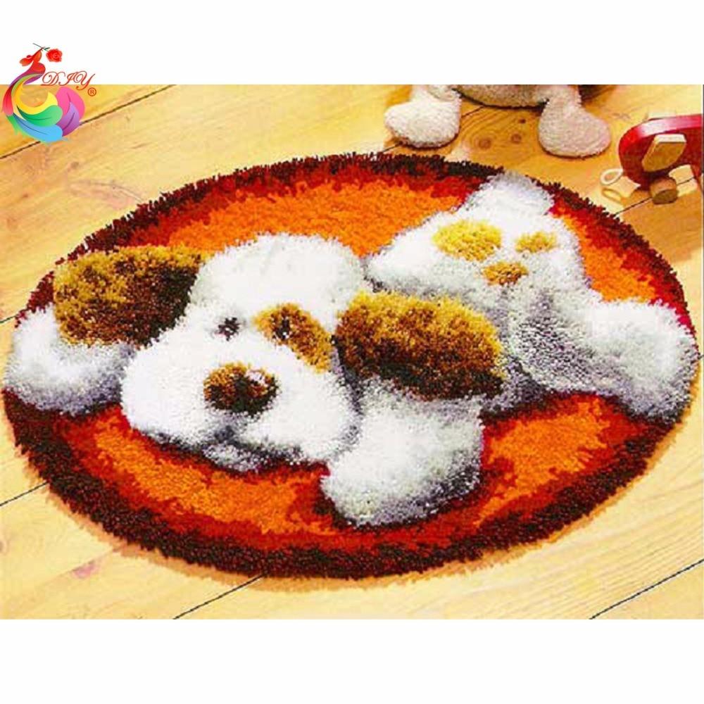 Kit de alfombra de gancho para fotos de gato, ganchos de ganchillo, agujas de tejer, juego de manualidades de fieltro para bordado, hilo, alfombras de punto de cruz