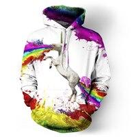 Drop Shipping Rainbow Unicorn Hoodie Sweatshirts Printed Animal Horse 3d Hoodies Pullovers Crewneck Hoody Feminina Clothing