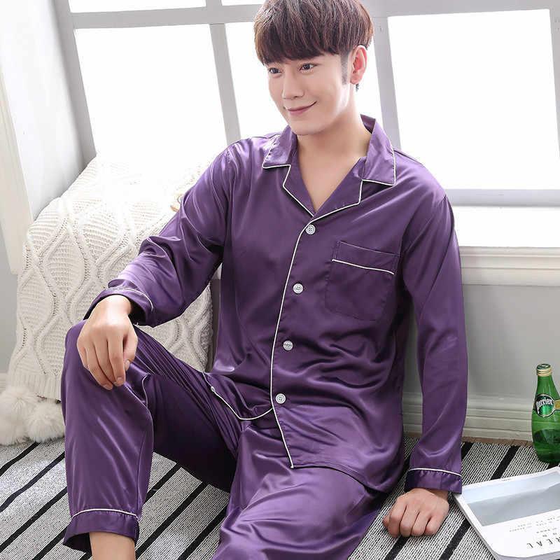 97182e3bef40b ... 2018 Домашняя одежда мужская пижама летние однотонные с длинным рукавом  из двух частей шелковые пижамы для ...