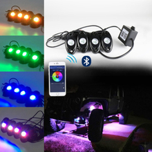 Waterproof IP68 Bluetooth Music LED Rock Lights RGB Color Accent Under Car Offroad  For ATV Jk Tj WJ XJ MJ 4X4 Crawler Golf Boat