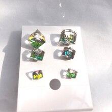 6 PCs 1 set Charming Attractive Gradual Change Austrian Crystal Cube Stud Earrings female and male earrings simple