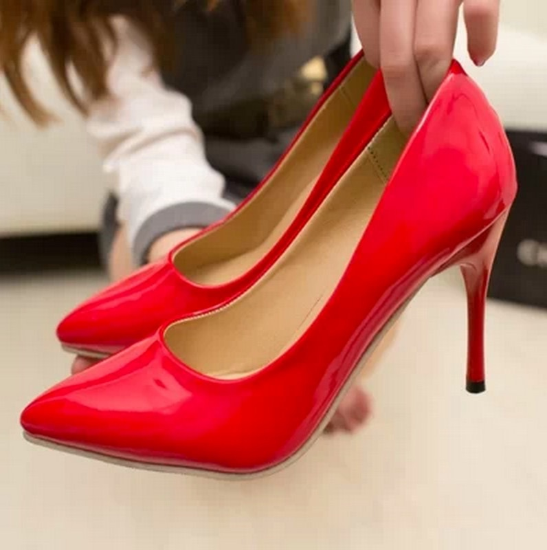 Spring and autumn ol pointed toe women font b pumps b font single shoes japanned leather
