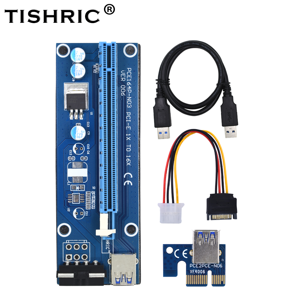 Trustful Pci-e 1x To 16x Extender Riser Card 6pin Cable With Led Light For Btc Miner A Great Variety Of Goods Computer & Office
