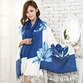 7Color Fashion Luxury Brand Cotton Scarf Women long Blanket Tassels Floral Scarf Foulard Femme Pashmina Women Shawls&Scarves